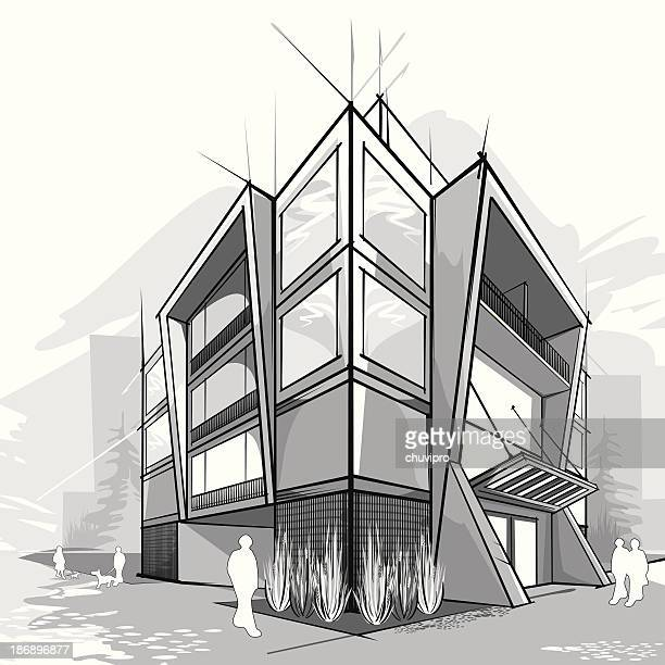 ilustraciones, imágenes clip art, dibujos animados e iconos de stock de moderna casa. - arquitectura