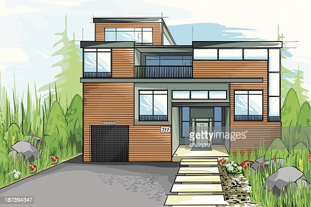 modern house. - house exterior stock illustrations, clip art, cartoons, & icons