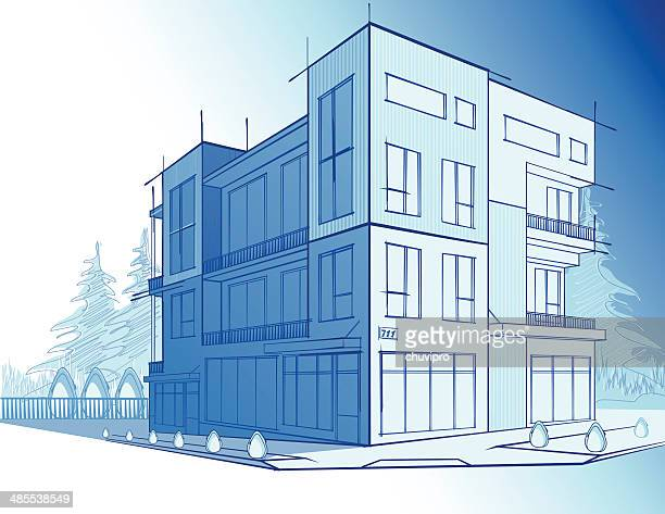 modern house - point of view stock illustrations
