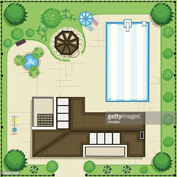 modern house with pool and garden. top view - parasol stock illustrations