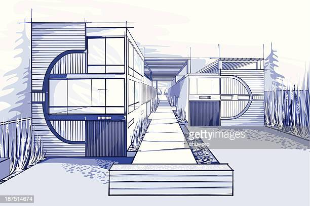 Modern houses illustration  in blue colors