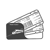 Modern icon Train ticket Isolated object on white background.