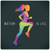 Modern illustration with running woman and motivating quote