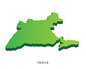 Modern India Isometric 3D Country Map Illustration