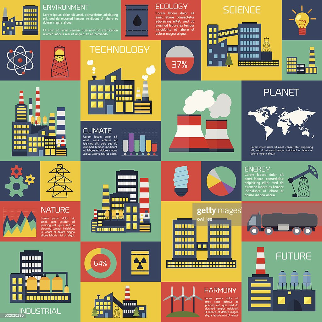 Modern industrial flat infographic background.