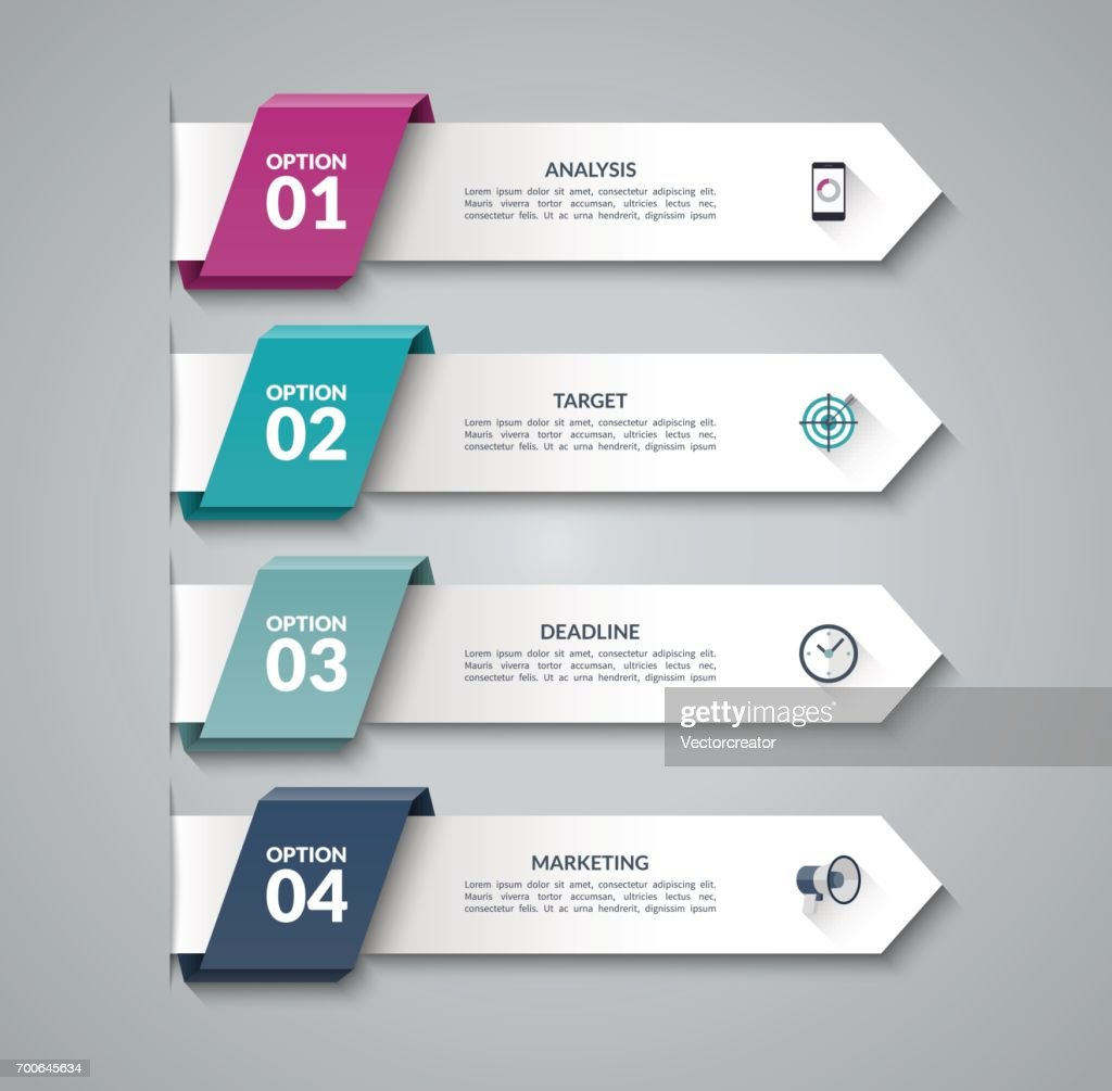 Modern infographic arrows. Vector design template of 4 options, steps, parts. Can be used for workflow layout, diagram, step by step infographics, graph, chart, diagram, web design.