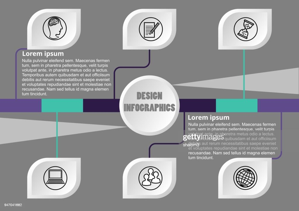 Modern infographic process visualization template, abstract vector with white graphic elements on gray background