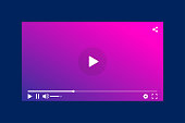 Modern interface video player. Template for applications and web technology. Blue background.