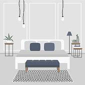 Modern interior design. Scandinavian style. Double bed. Bedroom. Flat editable vector illustration, clip art