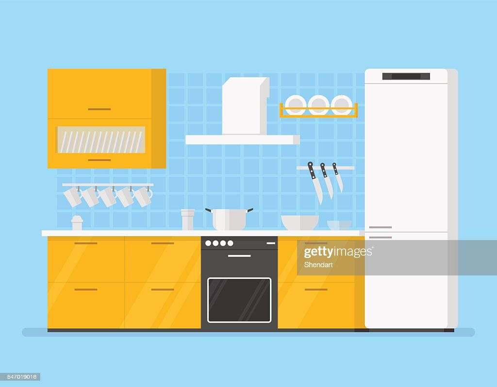 modern interior kitchen room in yellow tones. Isolated cartoon illustration.