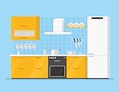 modern interior kitchen room in yellow tones. Isolated cartoon illustration.