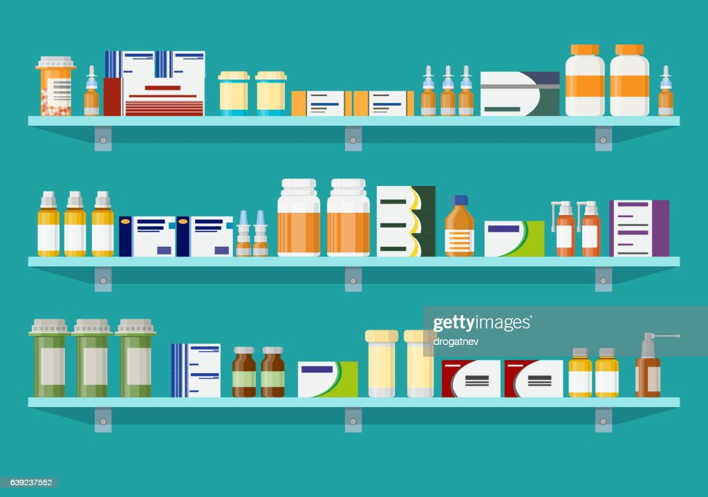 Modern interior pharmacy or drugstore.