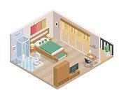 Modern Isometric Bedroom And Bathroom Interior Design