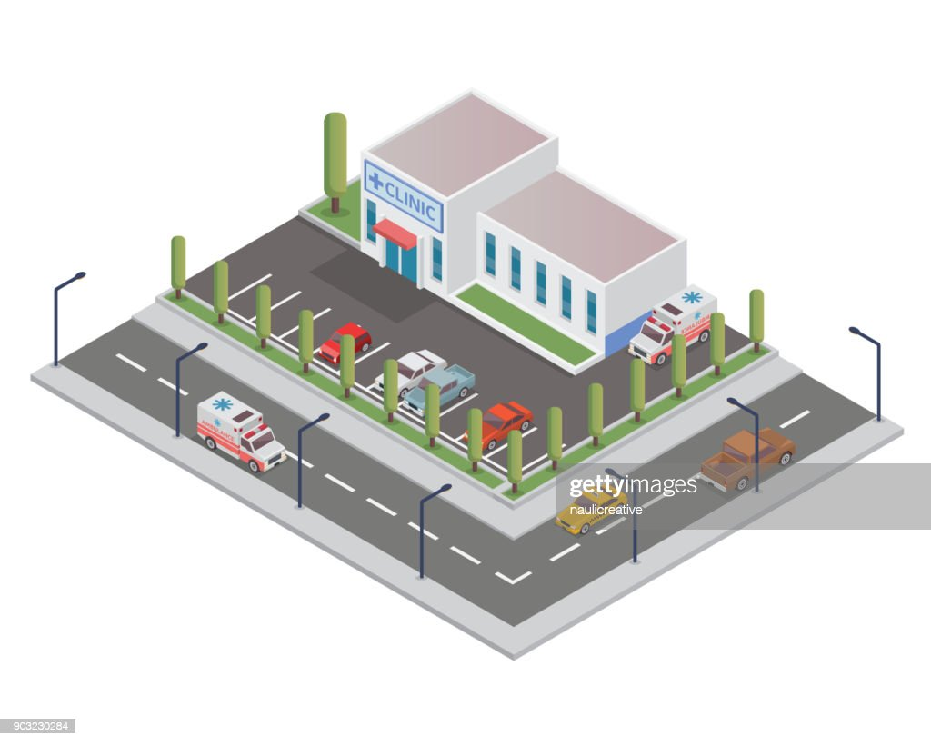 Modern Isometric Hospital Building Illustration