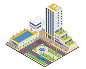 Modern Isometric Hotel Building Illustration In Isolated White Background