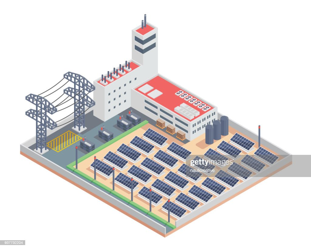 Modern Isometric Industrial Electricity Solar Plant Facility Illustration