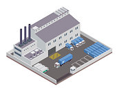 Modern Isometric Industrial Factory and Warehouse Logistic Building Illustration