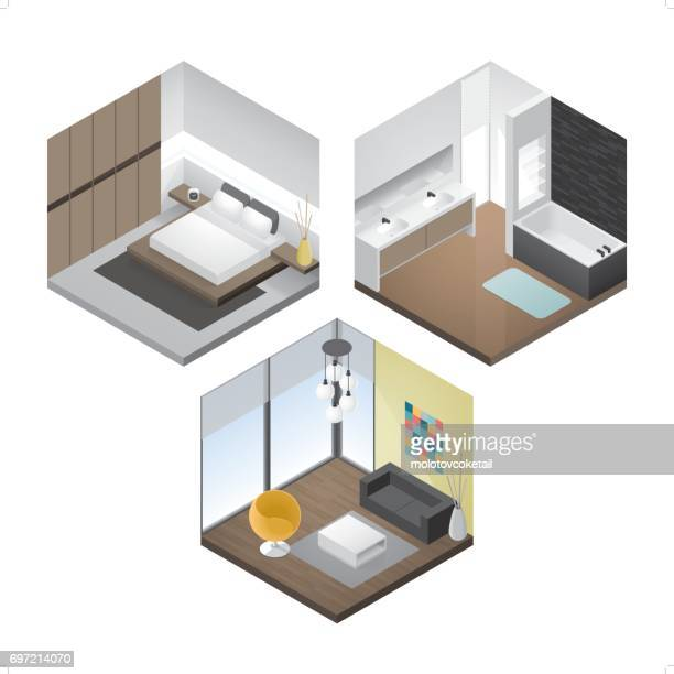 3 modern isometric interior icon set