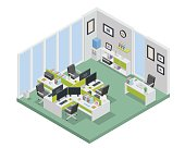 Modern Isometric Office Interior Design