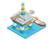 Modern Isometric Offshore Oil Rig Drilling Facility Illustration In Isolated White Background