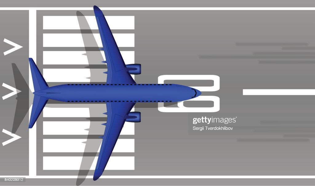 A modern jet passenger blue plane on the runway. View from above. A well-designed image with a mass of small details. Airport marking.
