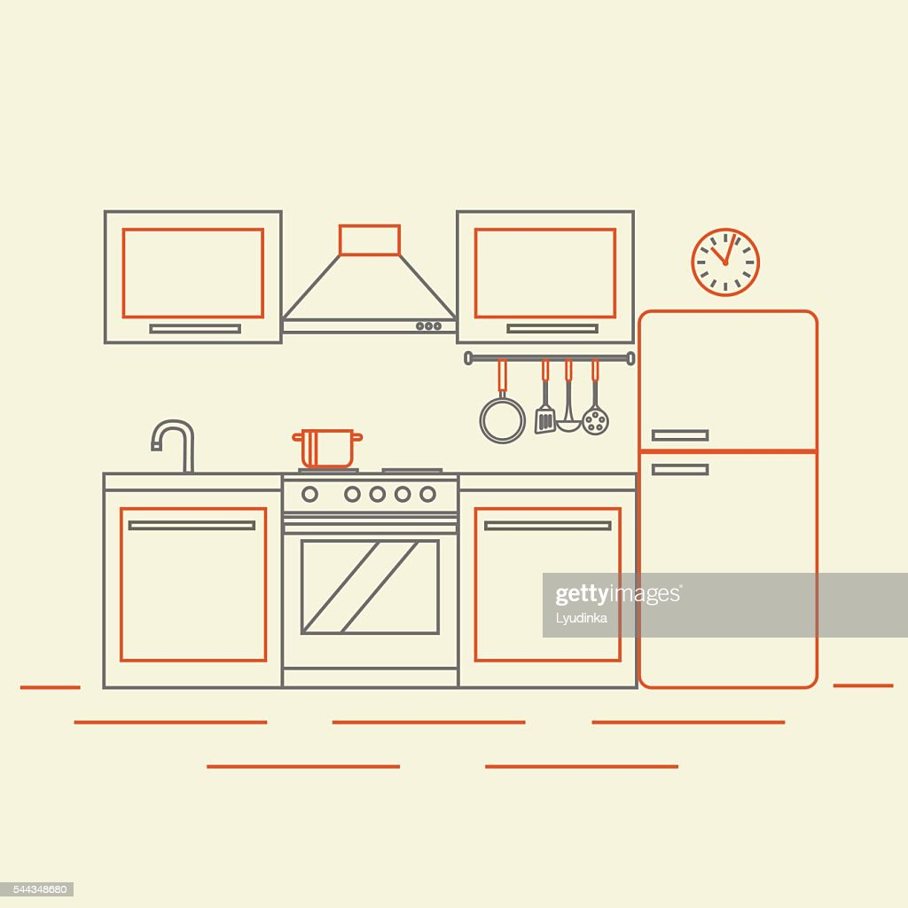 Modern kitchen furniture interior design outline vector illustration