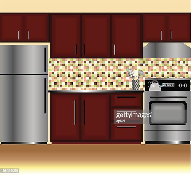 modern kitchen - cabinet stock illustrations, clip art, cartoons, & icons
