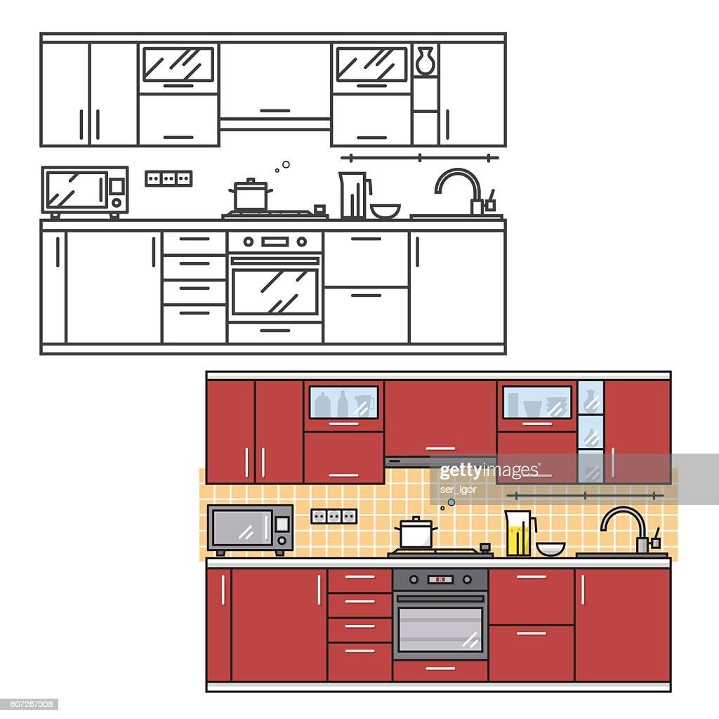 Modern kitchen wall interior.