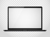 Modern laptop computer vector mockup isolated on transparent background. Vector notebook photoreal illustration. Template for a content