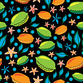 Modern Lemons-Fruit Delight seamless repeat pattern illustration.Background in green, blue, yellow, orange and black.