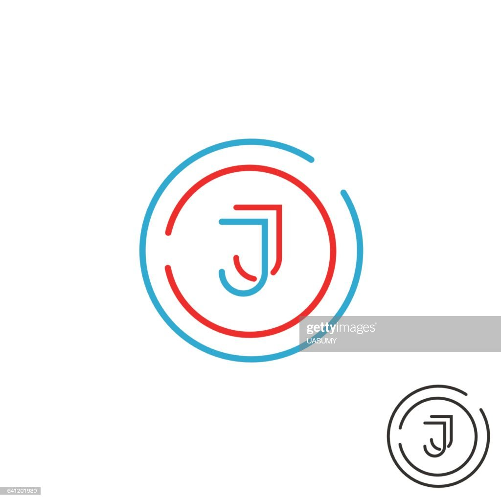 Modern Letter J Logo Monogram Outline Emblem Business Card Vector ...