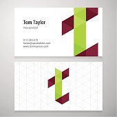 Modern letter T origami Business card template