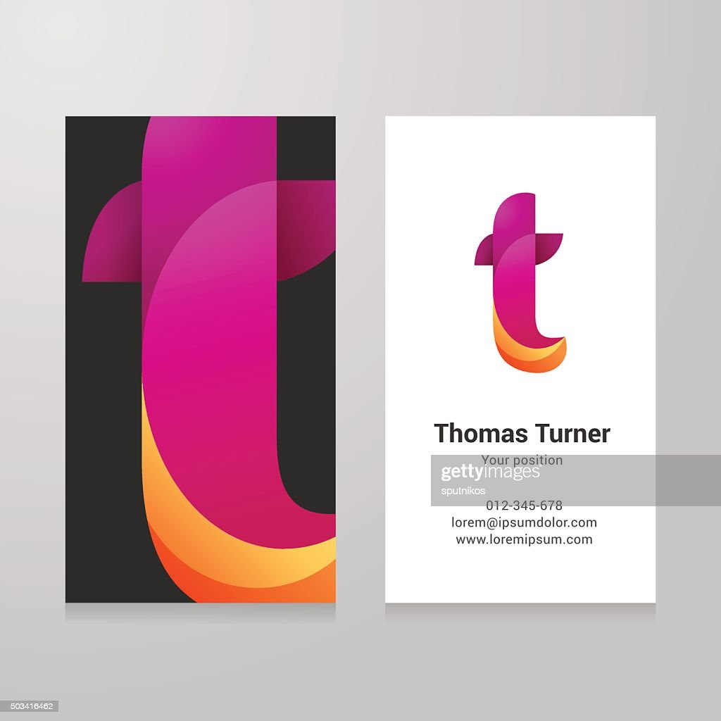 Modern letter t twisted Business card template