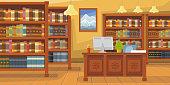 Modern library with bookshelf vector illustration