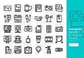 Modern line icons set of Photography. 48x48 Pixel Perfect icon. Editable Stroke.