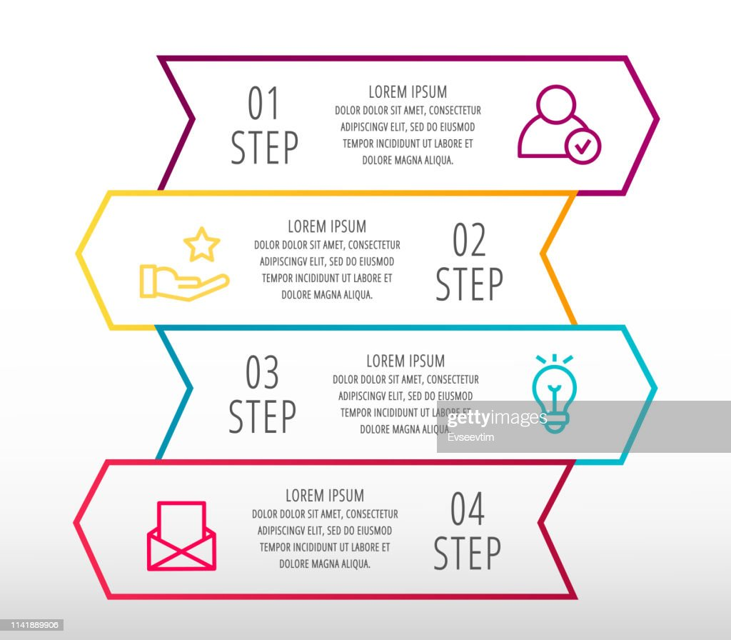 Modern line vector illustration. Infographic template with four arrows, text. Step by step. Designed for business, presentations, web design, diagrams, education with 4 steps