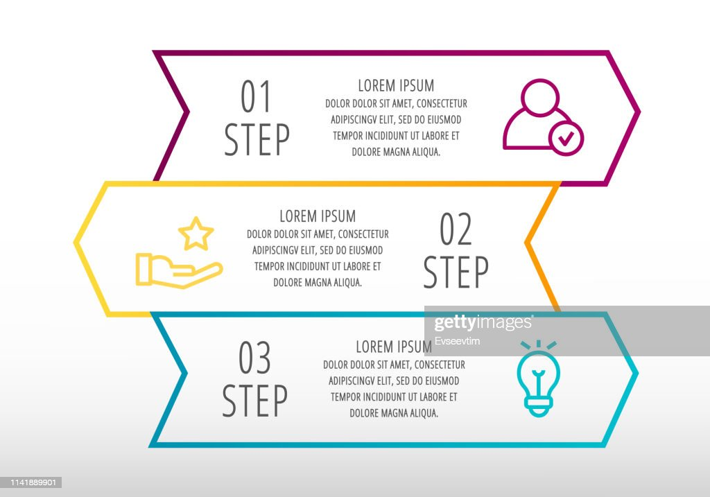 Modern line vector illustration. Infographic template with three arrows, text. Step by step. Designed for business, presentations, web design, diagrams, education with 3 steps