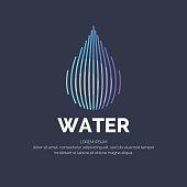 Modern line vector logo of the water drop