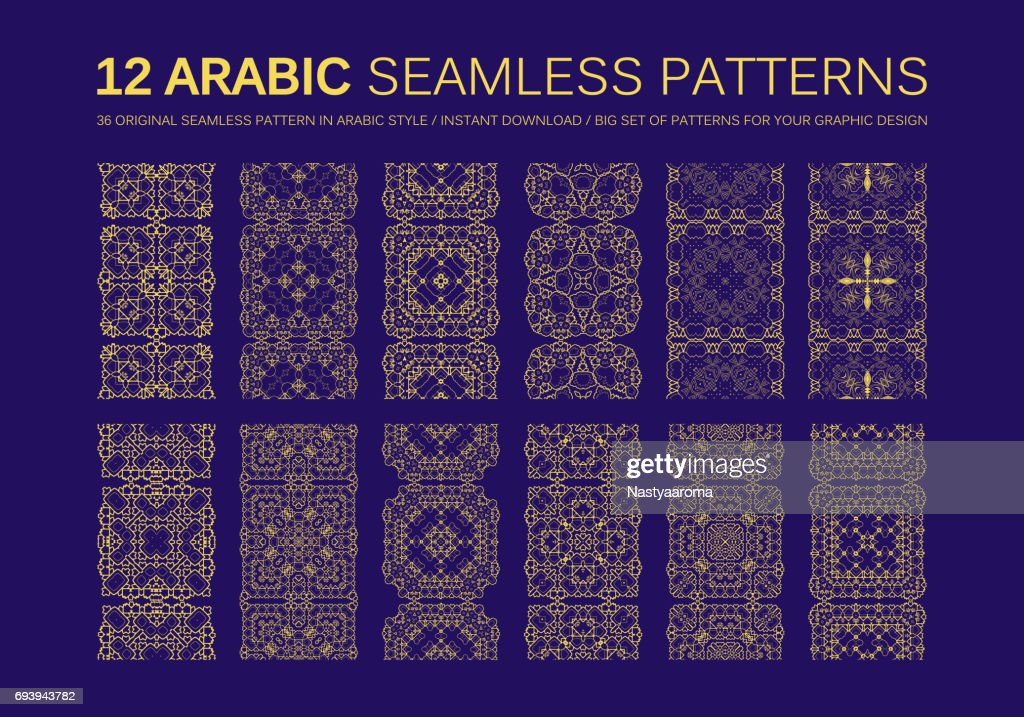 12 Modern line vector traditional arabic pattern
