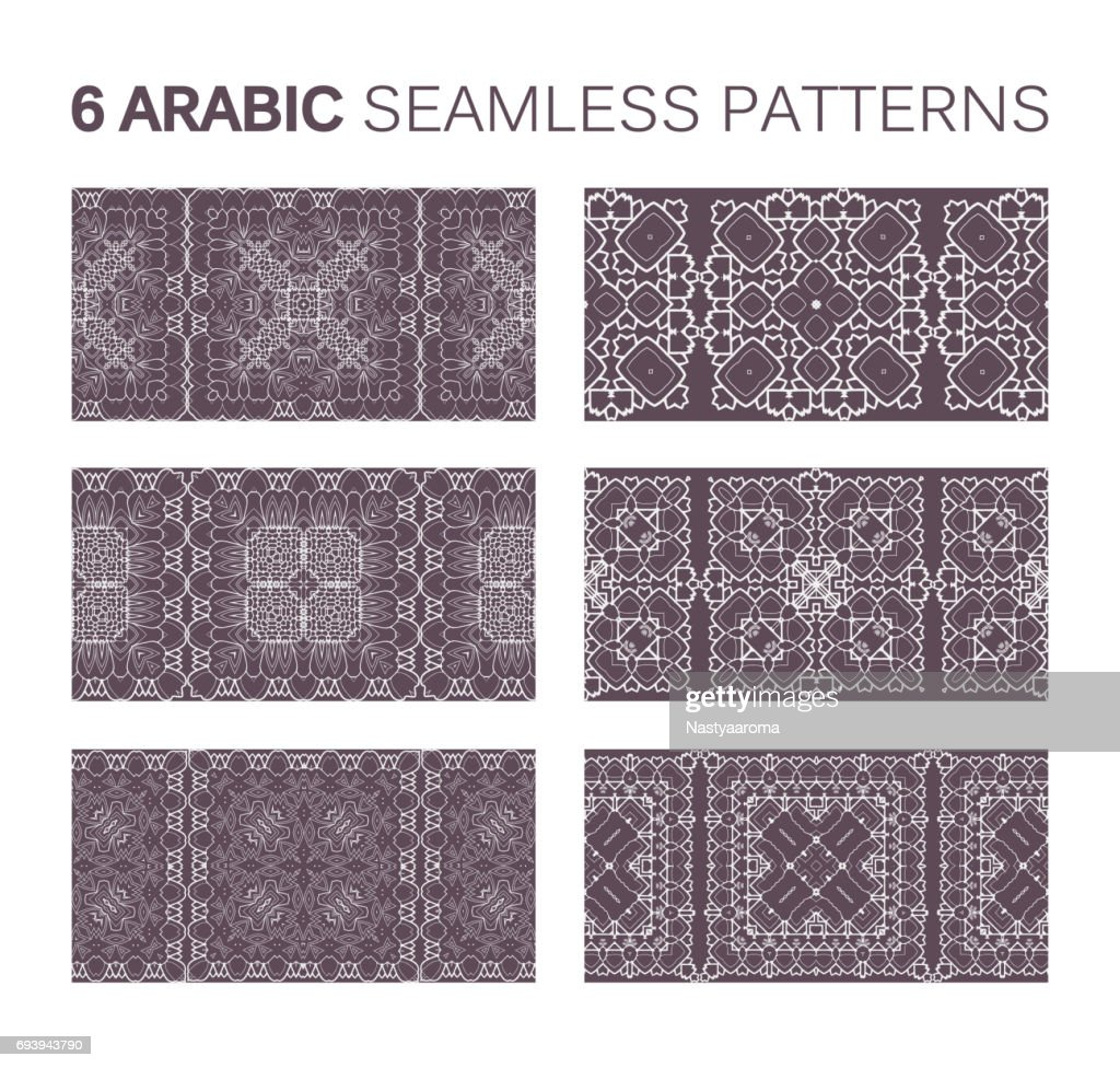 6 Modern line vector traditional arabic pattern