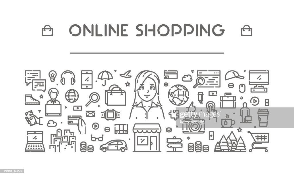 Modern line web banner for online shopping