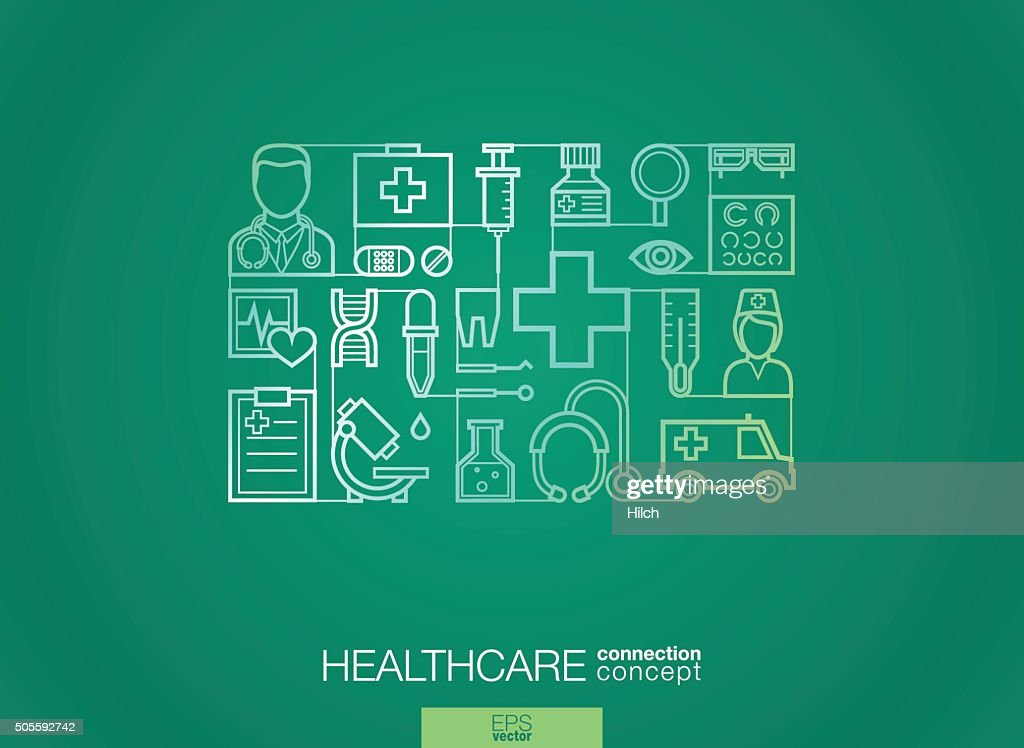 Modern linear style vector concept. Healthcare and medicine