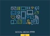 Modern linear style vector social media concept