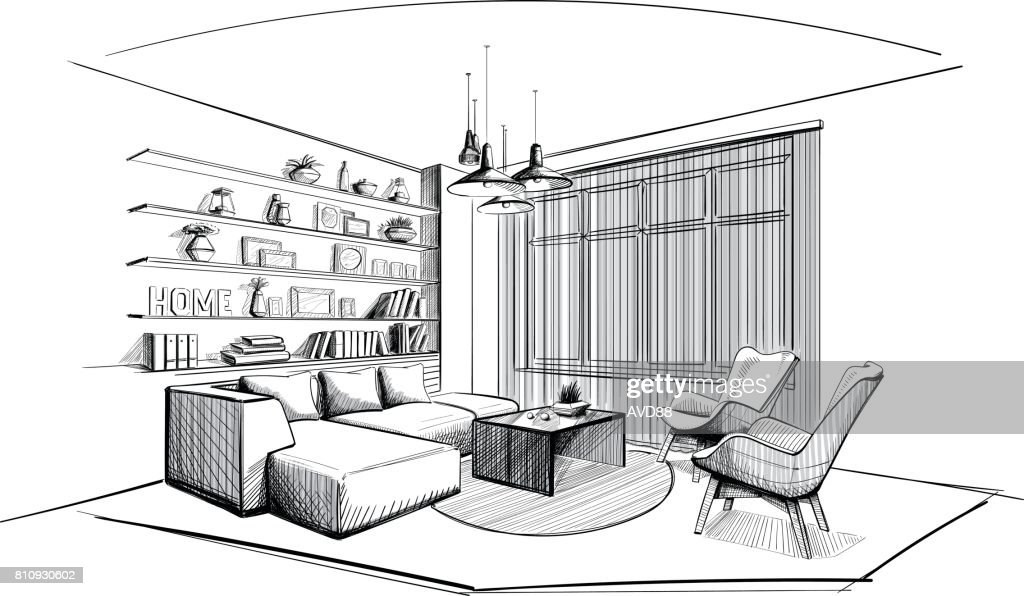 Modern Living room interior sketch.