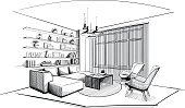 Modern Living room interior sketch.