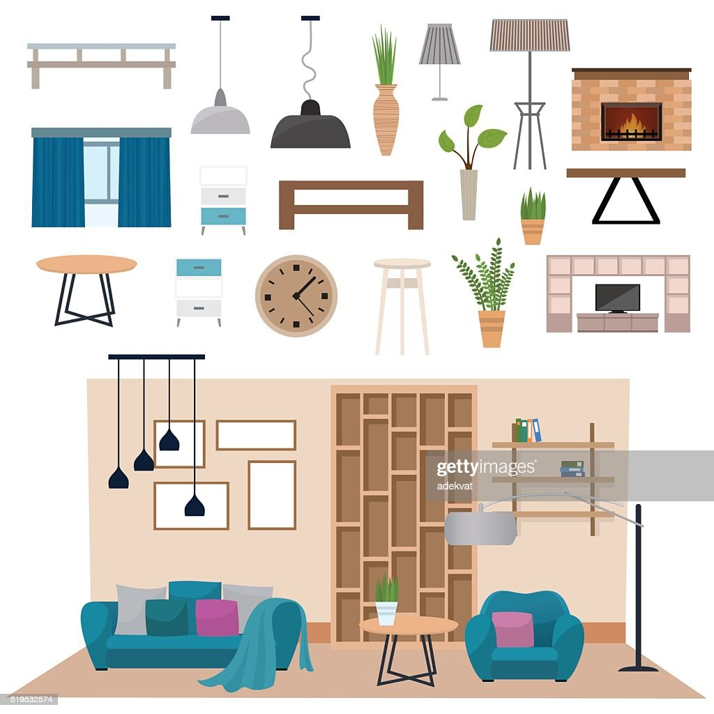 Modern living room interior with wood floor apartment furniture vector