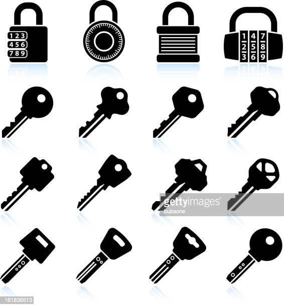 モダンなロックとキーブラック&白のベクトルアイコンを設定します。 - 家の鍵点のイラスト素材/クリップアート素材/マンガ素材/アイコン素材