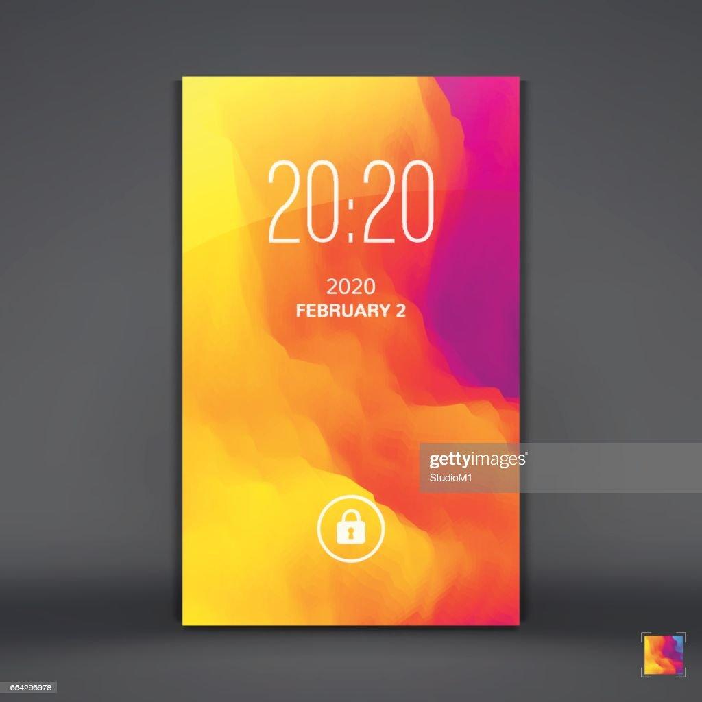 Modern Lock Screen for Mobile Apps. Mobile Wallpaper.