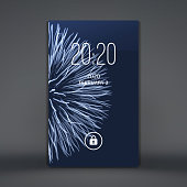 Modern lock screen for mobile apps. Smartphone. 3d grid background. Abstract vector illustration.