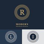 Modern logo design. Geometric linear monogram template. Letter emblem R, L, I. Mark of distinction. Universal business sign for brand name, company, business card, badge. Vector illustration